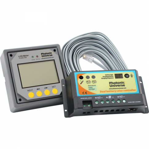 10A dual battery solar charge controller with a remote LCD meter