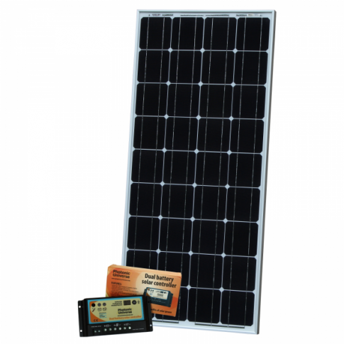 100W dual battery solar kit for camper / boat (with 10A dual battery controller and 5m cable)