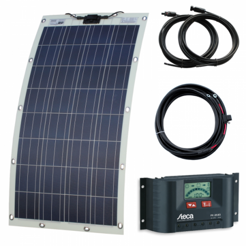 130W semi-flexible solar charging kit with Austrian textured fibreglass solar panel (with Eyelets and fasteners)