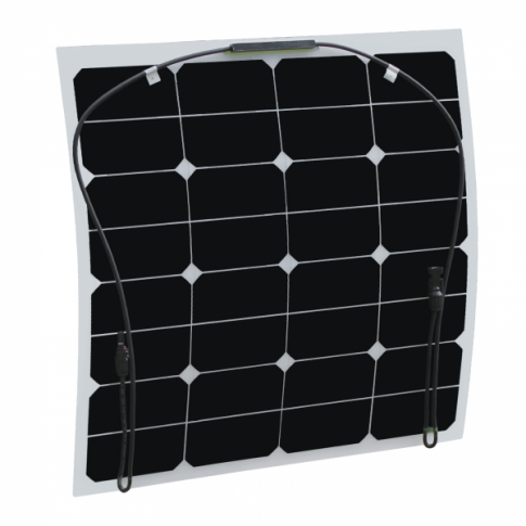 50W Semi-flexible solar panel made of back-contact cells with durable ETFE coating, for motorhome, caravan, camper, rv, boat