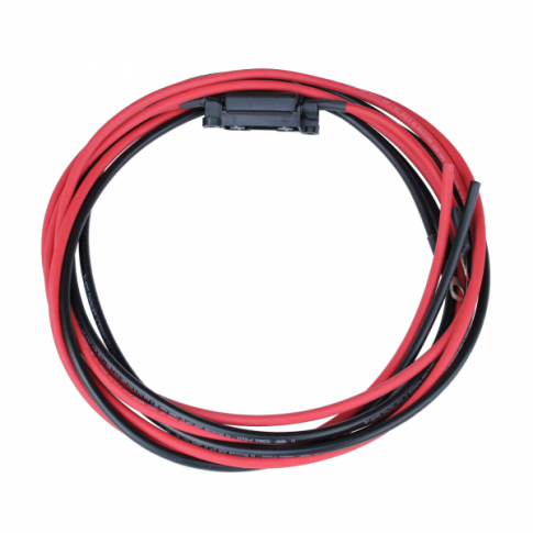 3m 16mm2 single core red and black extension cable with a fuse holder, 60A fuse and ring terminals (8mm)