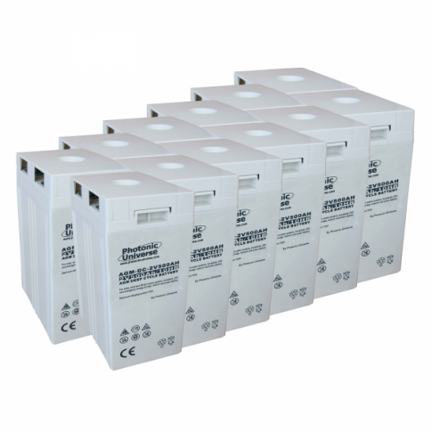 24V 500Ah AGM deep cycle battery bank (12 x 2V batteries) for large power systems and energy storage