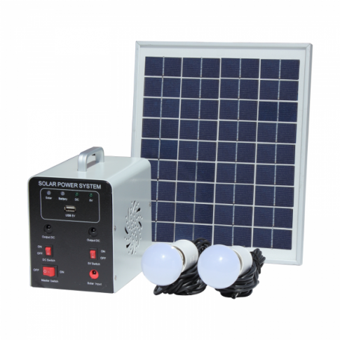 8W Off-Grid Solar Lighting System with 2 LED Lights, Solar Panel and Battery