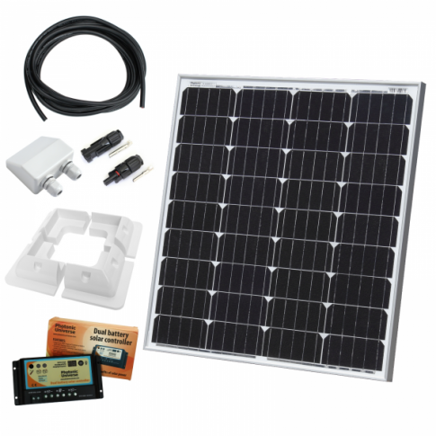 80W 12V dual battery solar charging kit with 10A controller, mounting brackets and cables - made of German solar cells