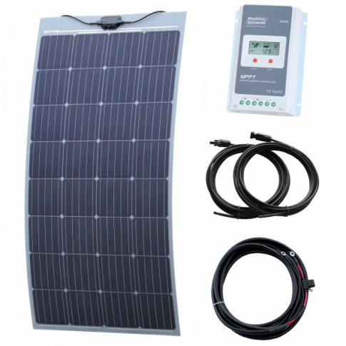 150W semi-flexible solar charging kit with Austrian textured fibreglass solar panel (with self-adhesive backing)