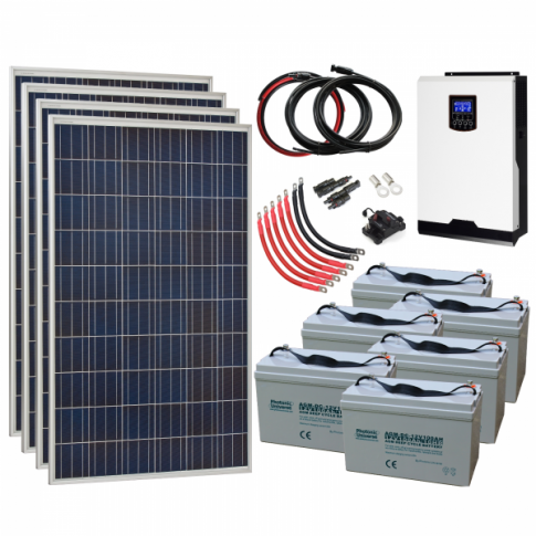1.1kW 24V Complete Off-grid solar power system with 4 x 275W solar panels, 3kW hybrid inverter and 6 x 100Ah batteries