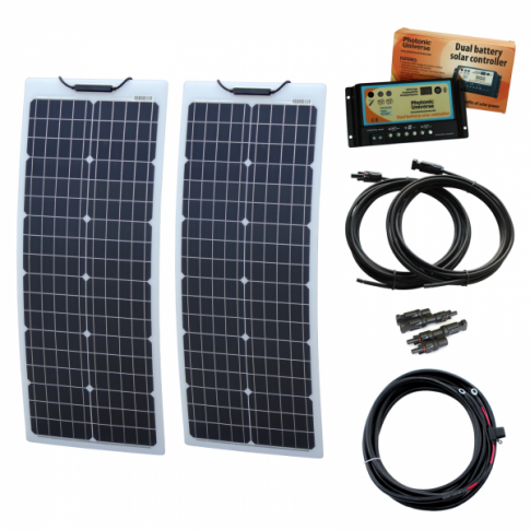 100W (50W+50W) 12V Reinforced narrow semi-flexible dual battery solar charging kit