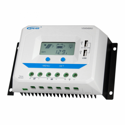 45A 12/24/36/48V solar charge controller / regulator with LCD display and powerful dual USB output (2.4A)