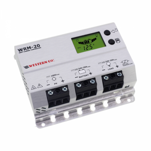 20A 12V/24V MPPT solar charge controller with LCD display for vehicles, boats, lighting and off-grid solar systems