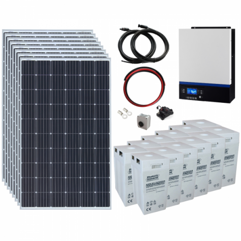 2.4kW 24V Complete Off-grid solar power system with 8 x 300W solar panels, 3kW hybrid inverter and a 12kWh battery bank