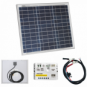 30W 12V solar charging kit with 5A solar charge controller and battery cables with crocodile clips