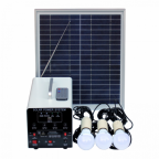 15W Off-Grid Solar Lighting System with 3 LED Lights, FM Radio, MP3 Player, Solar Panel and Battery