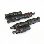 Pair of MC4 T-branch cable connectors / plugs for solar panels and photovoltaic systems