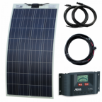 130W semi-flexible solar charging kit with self adhesive backing for motorhome, caravan, camper van, rv, boat or yacht
