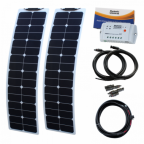 100W (50W+50W) 12V narrow semi-flexible back-contact solar charging kit for motorhome, caravan, campervan, rv, boat or yacht