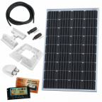 120W 12V dual battery solar charging kit (made of German solar cells) with 10A controller, mounting brackets and cables