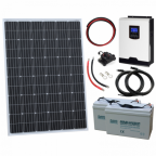 250W 12V Complete Off-grid solar power system with 250W solar panel, 1kW hybrid inverter and 2 x 100Ah batteries