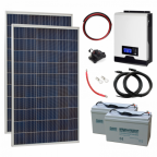 550W 24V Complete Off-grid solar power system with 2 x 275W solar panels, 2kW hybrid inverter and 2 x 100Ah batteries
