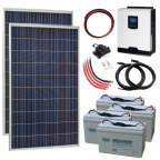 550W 24V Complete Off-grid solar power system with 2 x 275W solar panels, 3kW hybrid inverter and 4 x 100Ah batteries