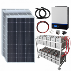 2.4kW 48V Complete Off-grid solar power system with 8 x 300W solar panels, 5kW hybrid inverter and a 24kWh battery bank