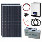 600W 24V Complete Off-grid solar power system with 2 x 300W solar panels, 2.4kW hybrid inverter and 2 x 100Ah batteries