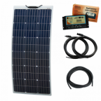 100W 12V Reinforced narrow semi-flexible dual battery solar charging kit