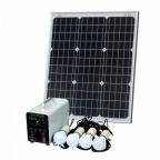 Off-Grid Solar Lighting System with 50W solar panel, 4 LED Lights, Solar Charge Controller and Lithium Battery