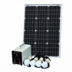 Off-Grid Solar Lighting System with 60W solar panel, 4 LED Lights, Solar Charge Controller and Lithium Battery