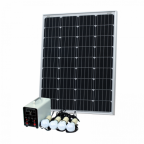 Off-Grid Solar Lighting System with 100W solar panel, 4 LED Lights, Solar Charge Controller and Lithium Battery