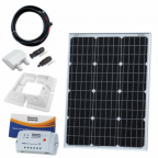 60W 12V solar charging kit (GERMAN solar cells) with 10A controller, mounting brackets and cables