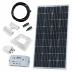150W 12V solar charging kit (GERMAN solar cells) with 10A controller, mounting brackets and cables