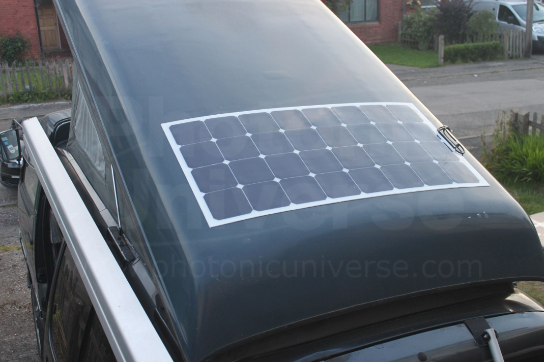 Installation of 100W flexible solar panel on Toyota campervan