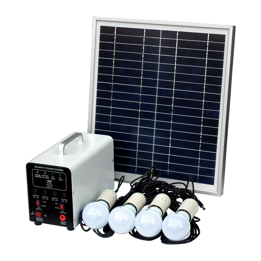 15w Off Grid Solar Lighting System With 4 Led Lights Solar Panel And Battery Ebay